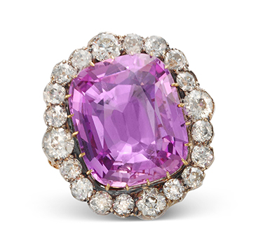 An Antique Pink Topaz and Diamond Ring, circa 19th Century