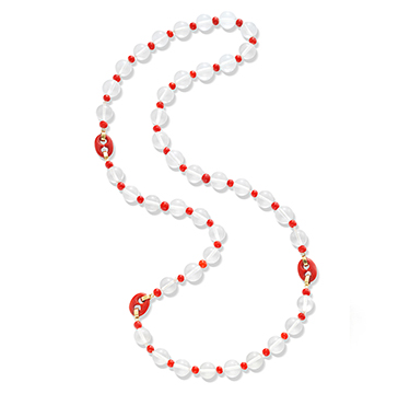 Cartier Rock Crystal, Coral and Enamel Long Necklace, circa 1950