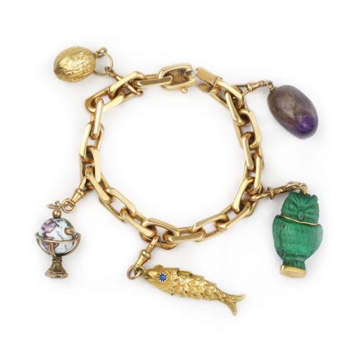 A Gold and Multi-Gem Charm Bracelet