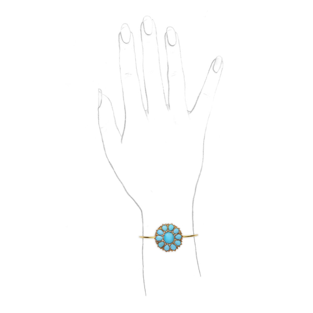 A Turquoise, Diamond, Silver and Gold Bangle Bracelet