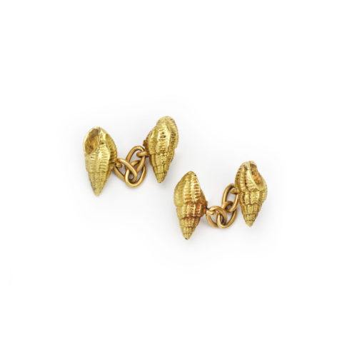 A Pair of Sculpted Gold Seashell Cufflinks