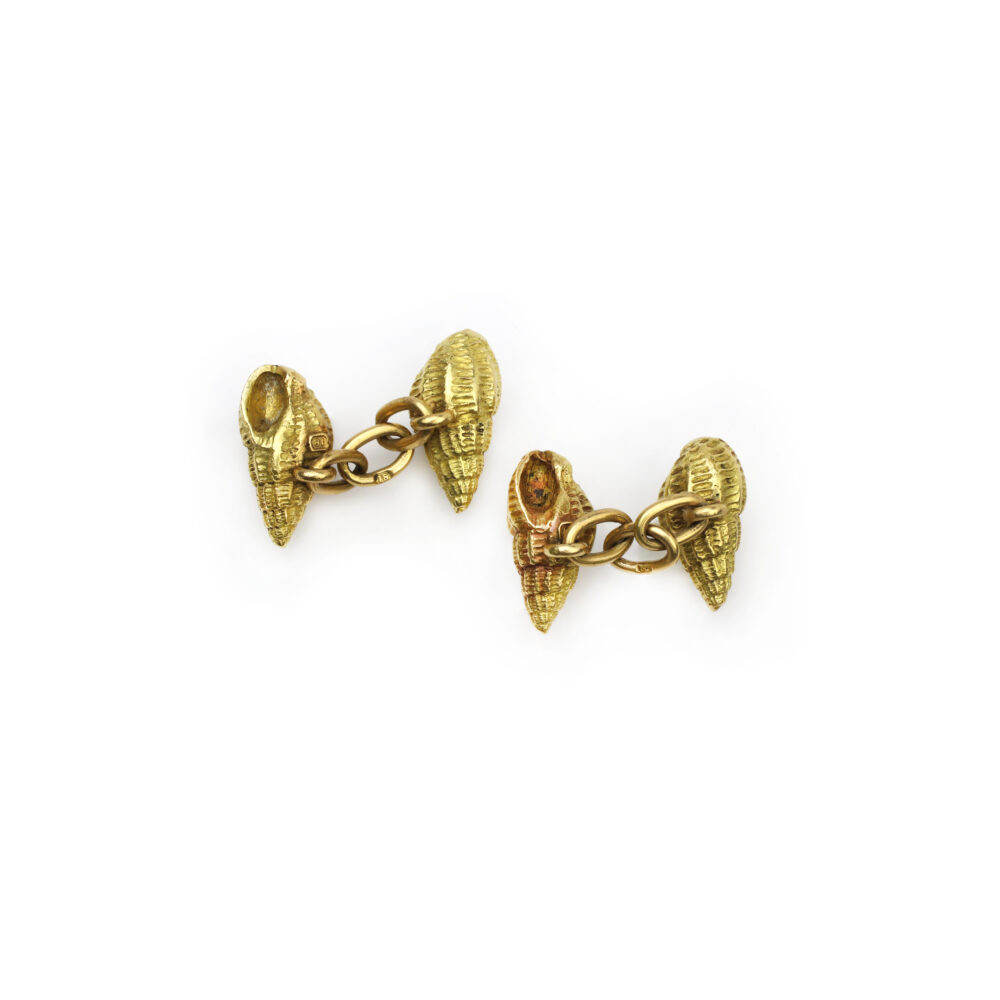 A Pair of Sculpted Gold Seashell Cufflinks