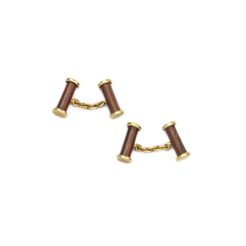 Pair of Wood and Gold Cufflinks