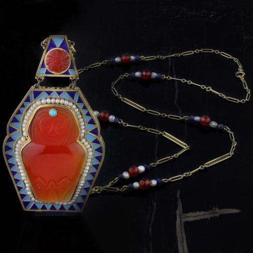 An Egyptian Revival Multi Gem and Enamel Necklace