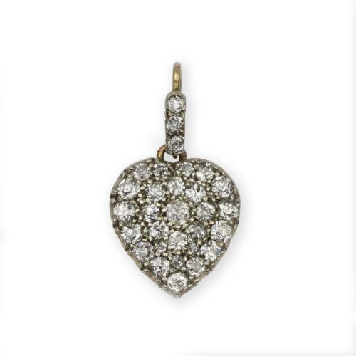 An Antique Diamond Set Heart Locket Pendant
