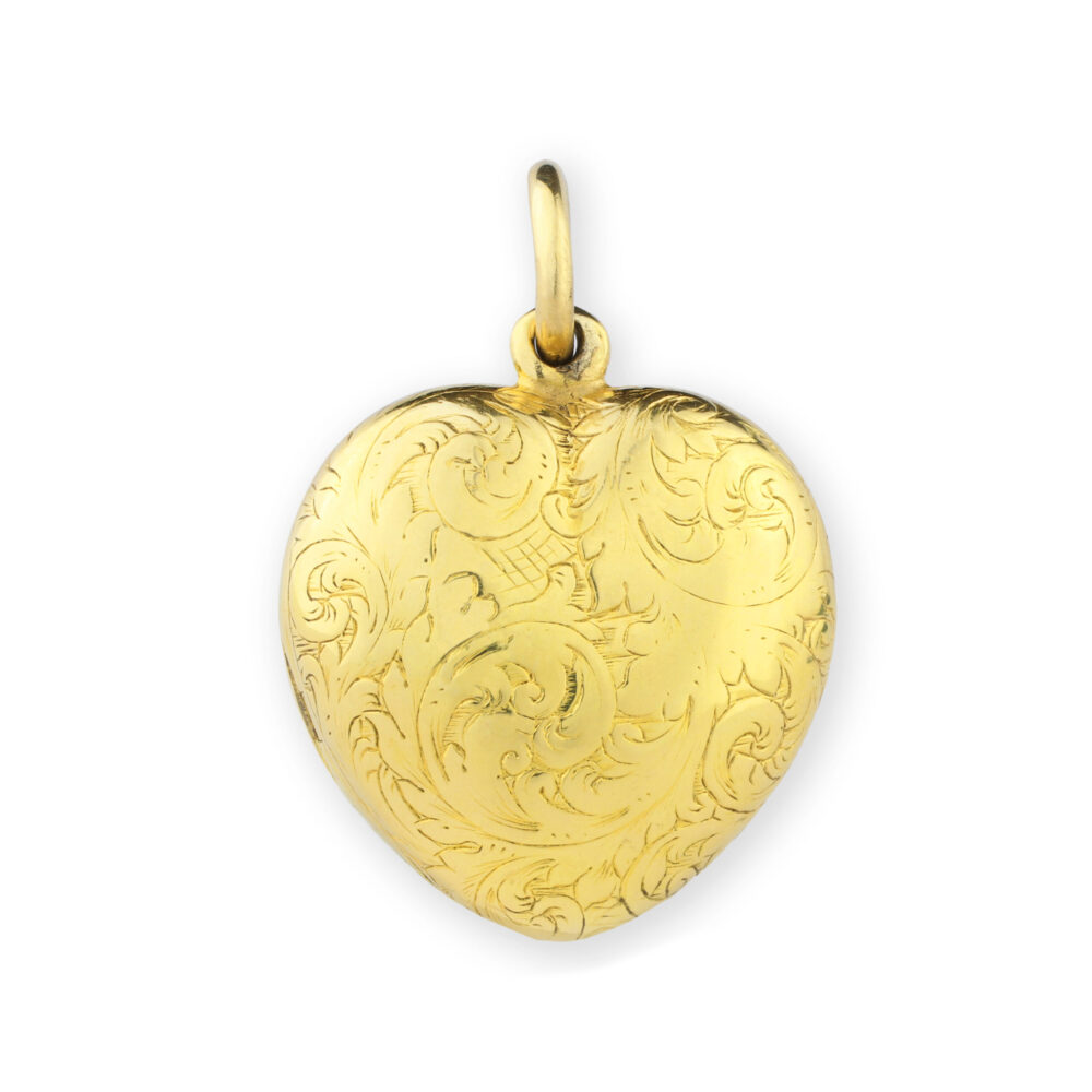 Antique Gold Heart Shaped Locket Pendant