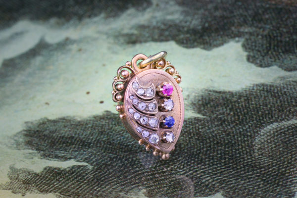 An Antique Multi-Gem, Diamond And Gold Locket Pendant