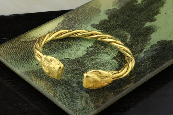 Egyptian Revival Gold Cuff Bracelet