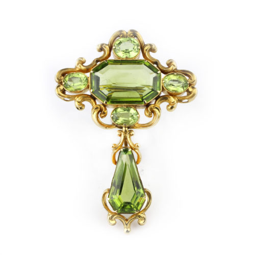 An Antique Peridot and Gold Brooch