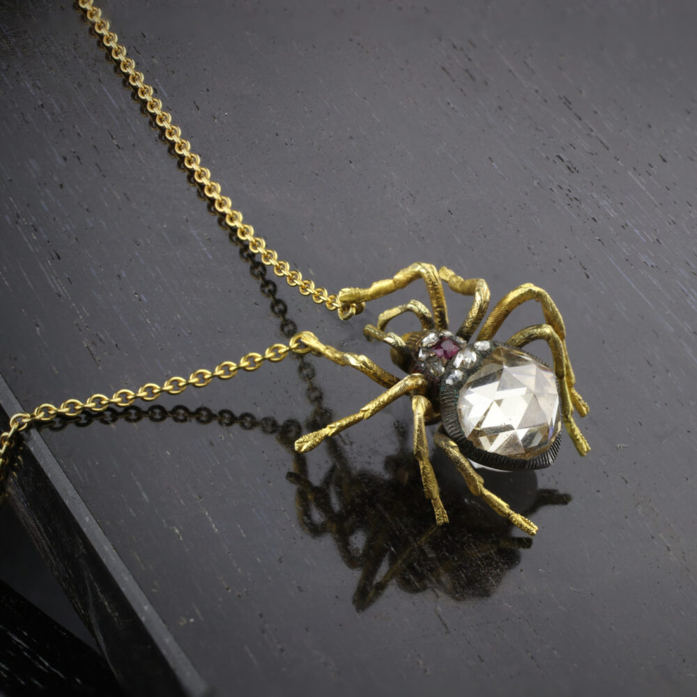 An Antique Rose-cut Diamond Spider Pendant