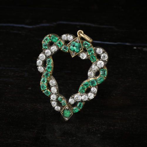 An Emerald and Diamond Heart Pendant