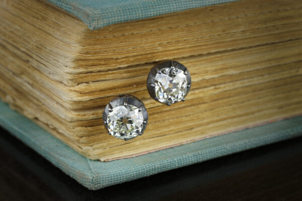 Antique Old Mine-cut Diamond Stud Earrings