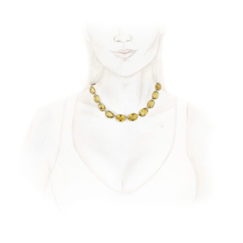 Antique Gold and Citrine Riviere Necklace