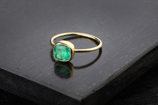 Cushion Shaped Emerald And Gold Ring