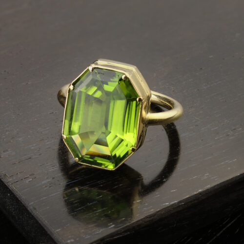 Gold and Octagonal Shaped Peridot Ring