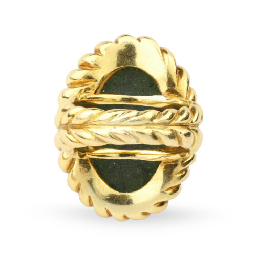 Serpentine and Gold Ring