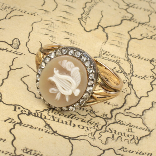 An Antique Cameo and Diamond Ring