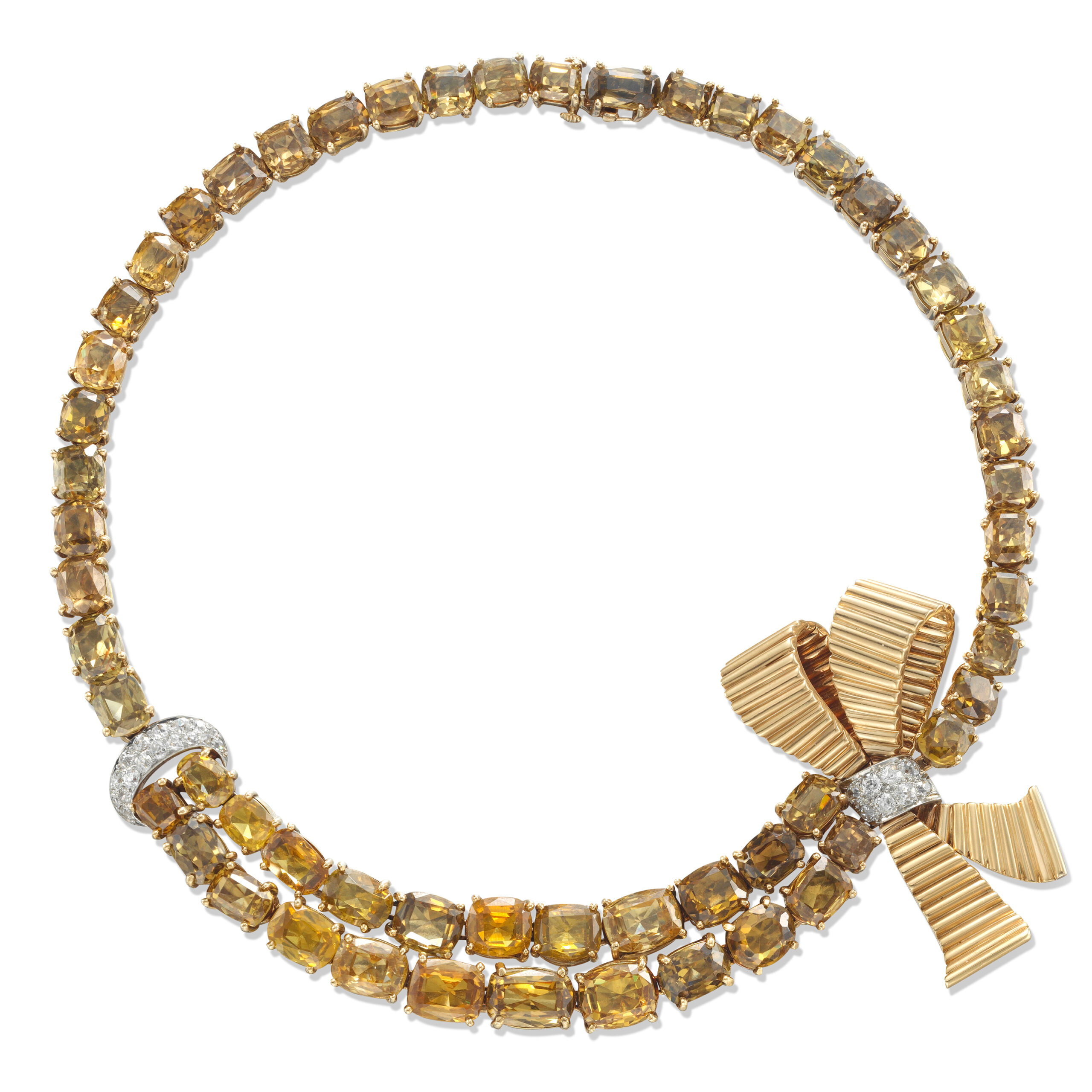 A Sphene and Diamond Ribbon Necklace, by Paul Flato