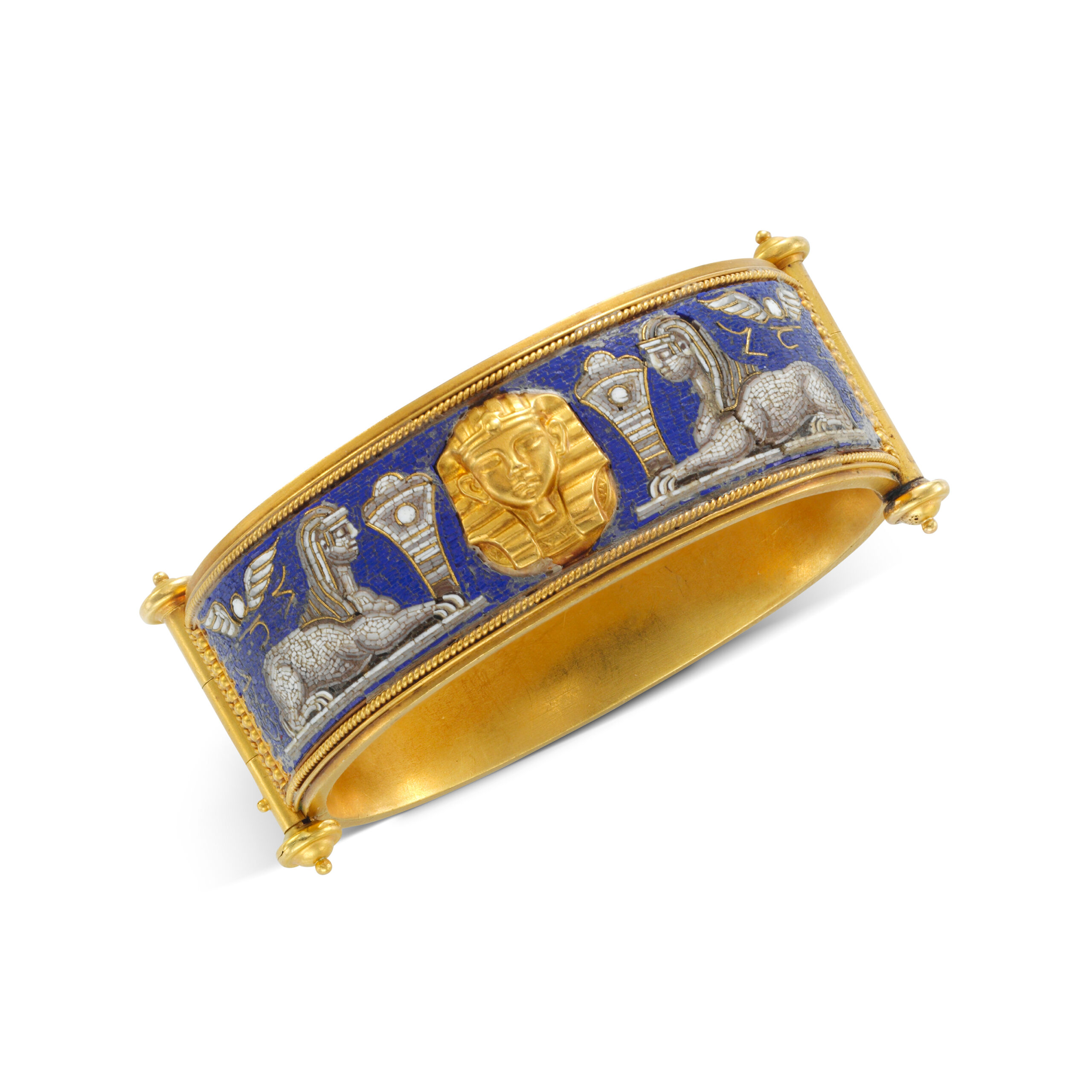 An Egyptian Revival Micromosaic and Gold Bangle Bracelet