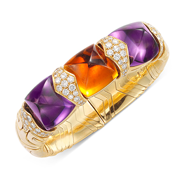 A Sugar-loaf Amethyst, Citrine and Diamond 'Alveare; Cuff Bracelet, by Bulgari