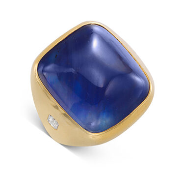 A Cabochon Sapphire, Diamond And Gold Ring, Of Approximately 30.00 Carats, By Bulgari