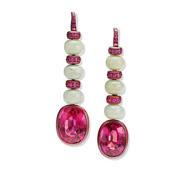 A Pair Of Pink Tourmaline, Sapphire And Jade Ear Pendants, By Hemmerle