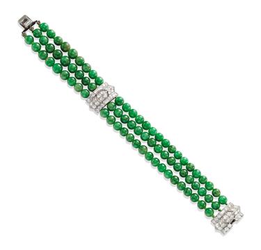An Art Deco Jade Bead and Diamond Bracelet, circa 1925