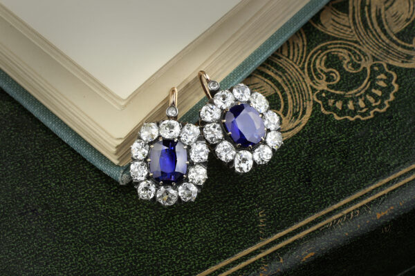 Antique Sapphire And Diamond Ear Pendant