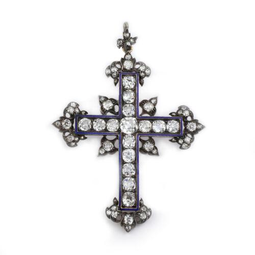 Antique Diamond and Enamel Cross Pendant