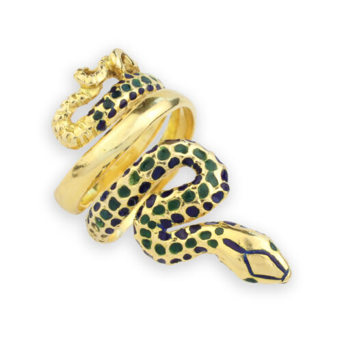 Enamel and Gold Snake Ring