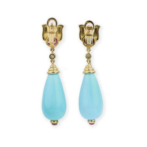 Bulgari, Turquoise, Ruby and Diamond Ear Pendants