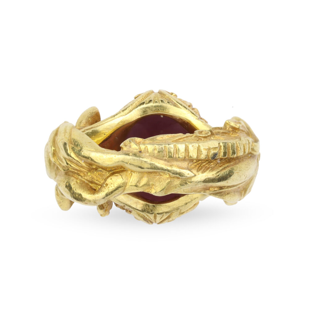 Classical Revival Garnet and 18k Gold Ring