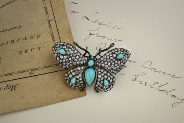 Antique Multi-Gem Butterfly Brooch