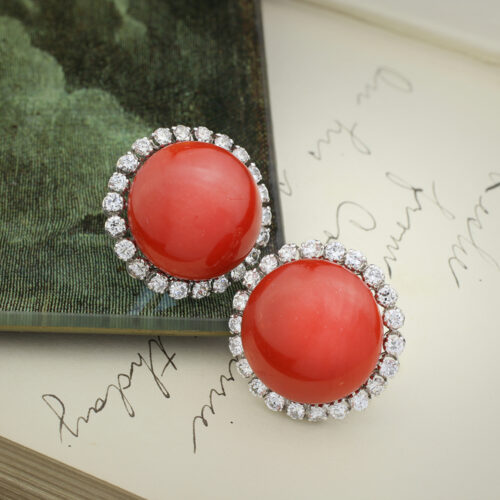 A Pair of Coral and Diamond Earrings