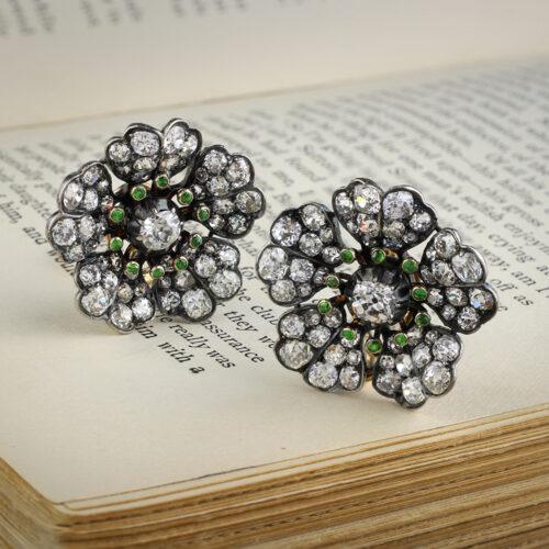 Antique Demantoid Garnet and Diamond Floral Ear clips