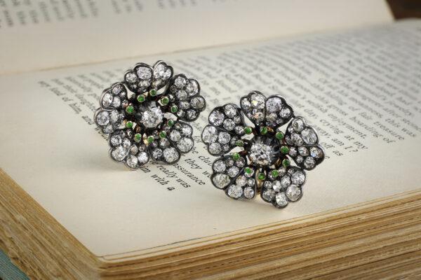 Antique Demantoid Garnet And Diamond Floral Ear Clips