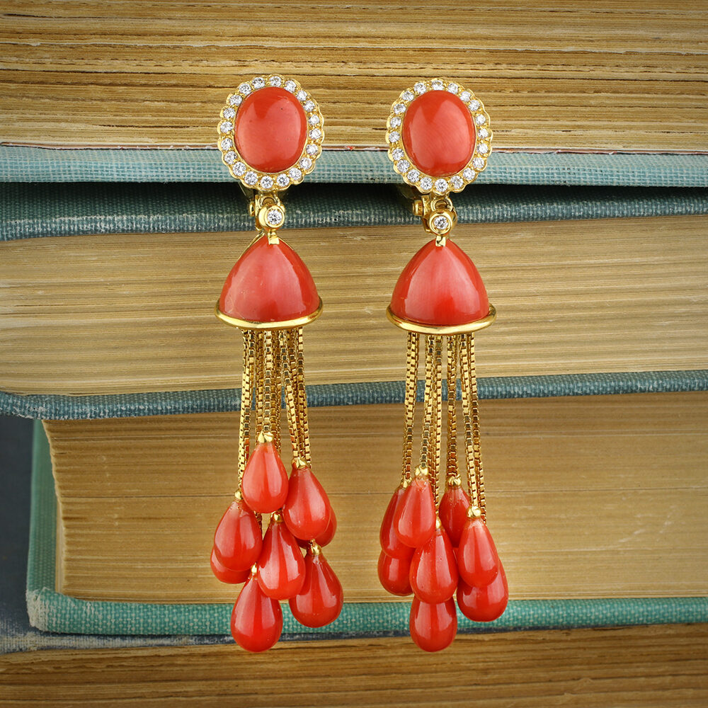 Coral, Diamond and Gold Ear Pendants