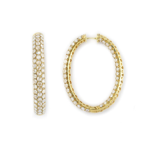 Rose Cut Diamond Set Hoop Earrings