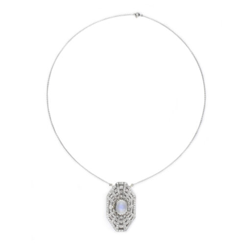 Diamond, Moonstone and Platinum Necklace