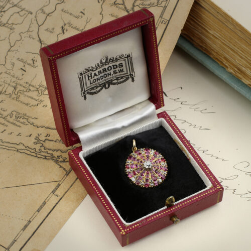 Antique Ruby and Diamond Set Gold Locket