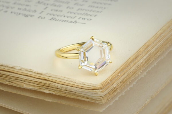 Hexagonal Cut Diamond Ring
