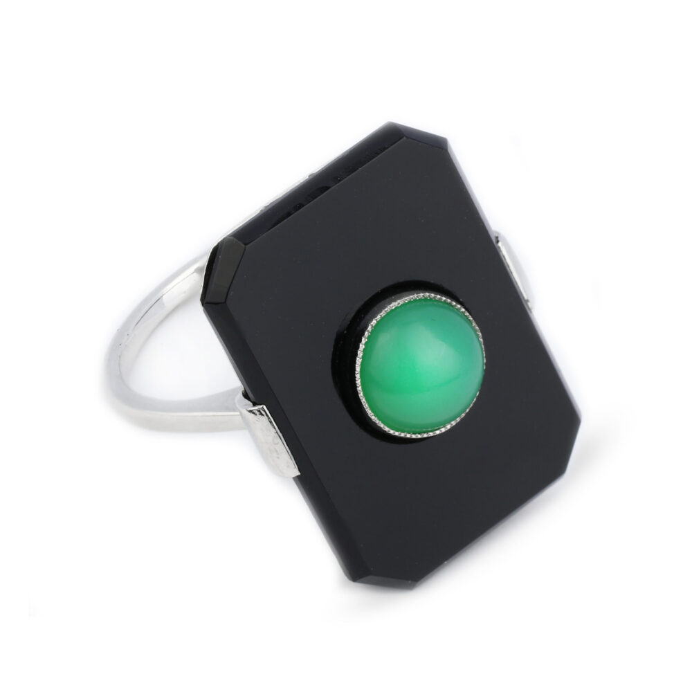 Art Deco Onyx and Jade Plaque Ring