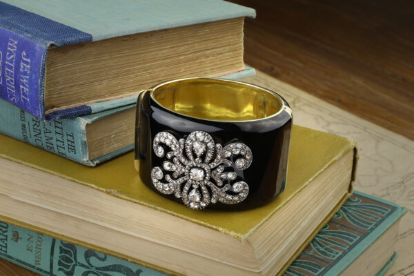 Diamond And Black Enamel Cuff Bracelet