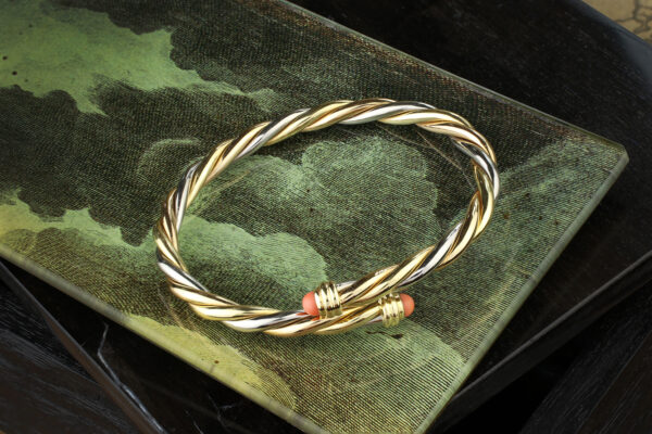 Cartier Tri-colored Gold And Coral Bracelet