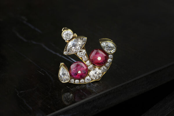 Antique Ruby And Diamond Anchor Brooch
