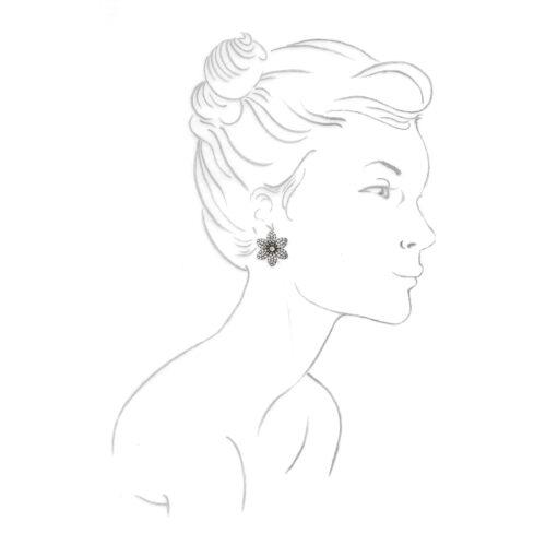 Diamond Flower Ear Clips