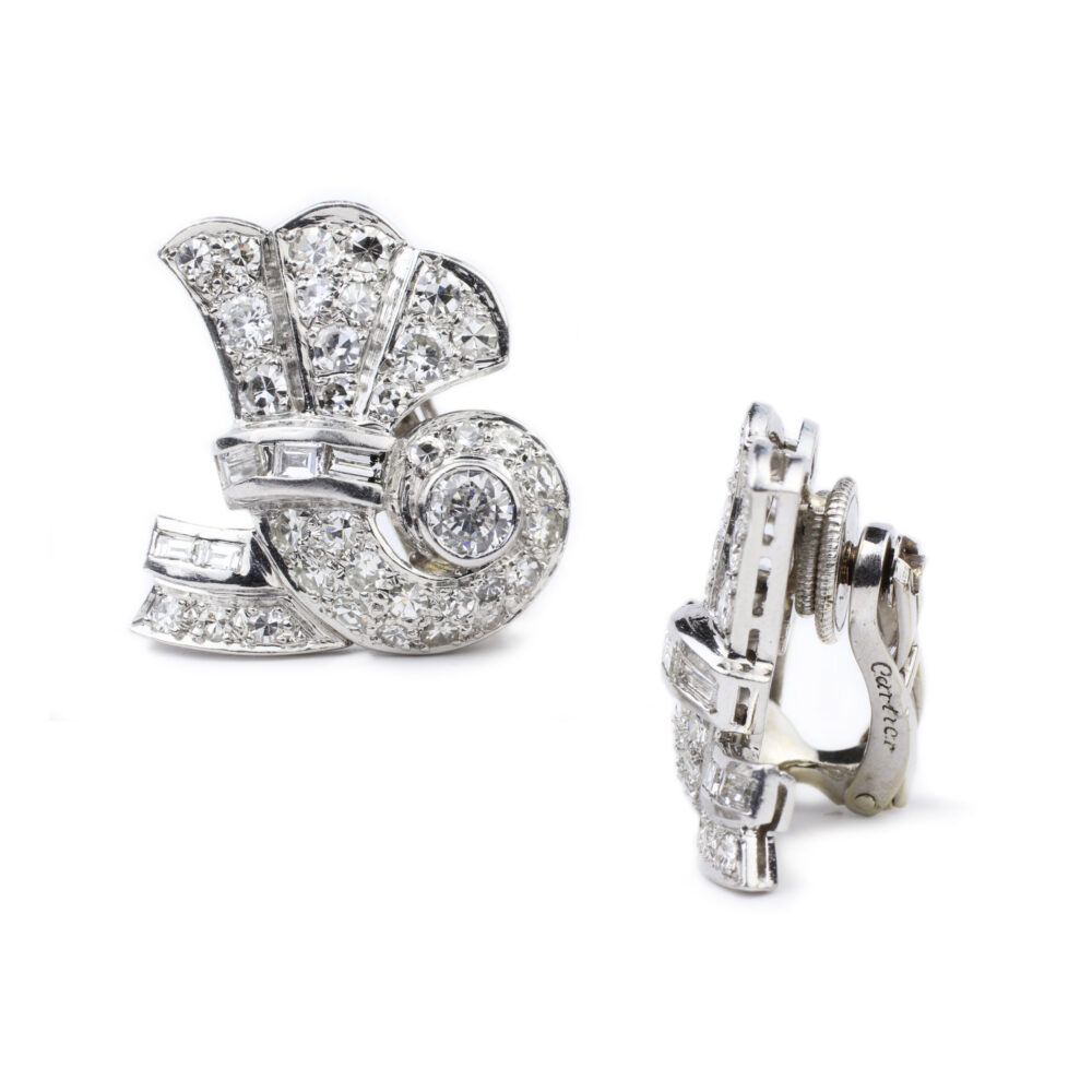 Cartier Diamond and Platinum Ear Clips