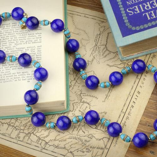 Gold, Lapis Lazuli, Turquoise and Diamond Necklace
