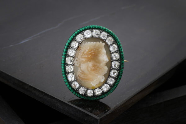 Agate Cameo, Enamel And Diamond Brooch