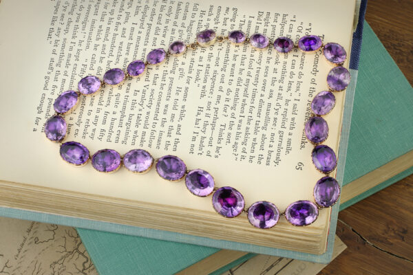 Antique Amethyst And Gold Riviere Necklace
